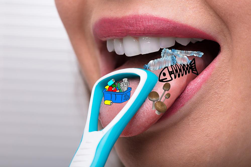 V otevřených ústech nějaké dámy na jazyku položená škrabka na jazyk | Škrabka na jazyk | Zdraví | Ústní hygiena | Zdroj: shutterstock.com