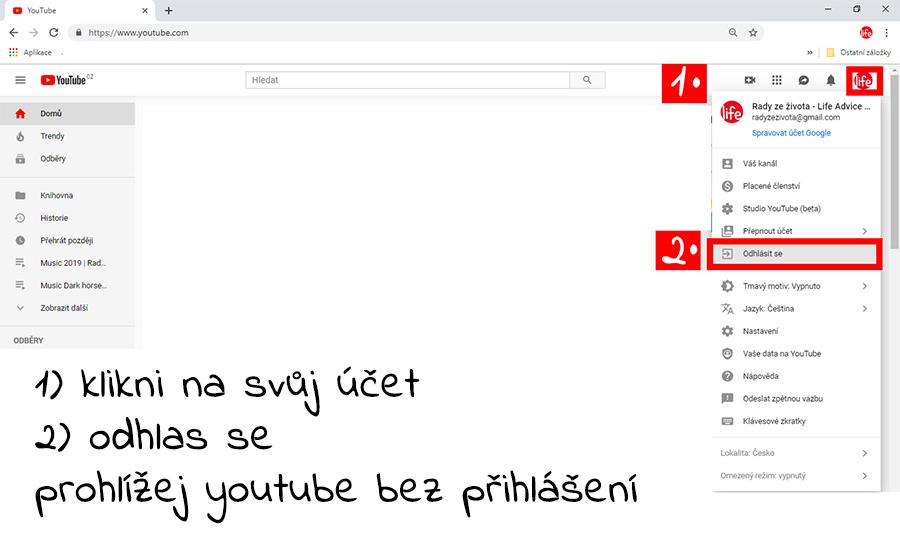 Jak se odhlásit na youtube když si přihlášen na gmail účtu
