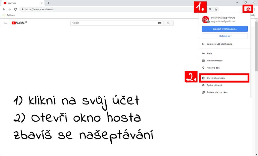 Jak se přihlásit jako host? Youtube na prohlížeči chrome (od google)