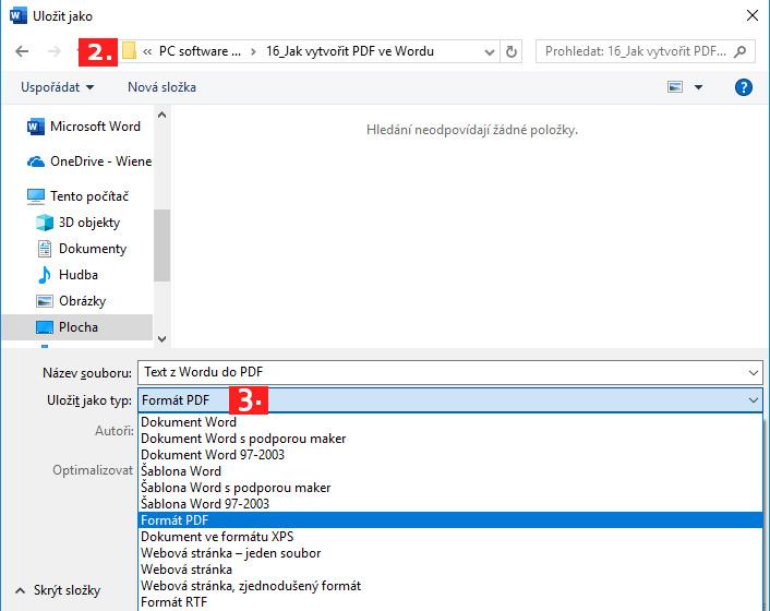 Printscreen z Wordu z uložení - postup jako uložit jako Formát PDF