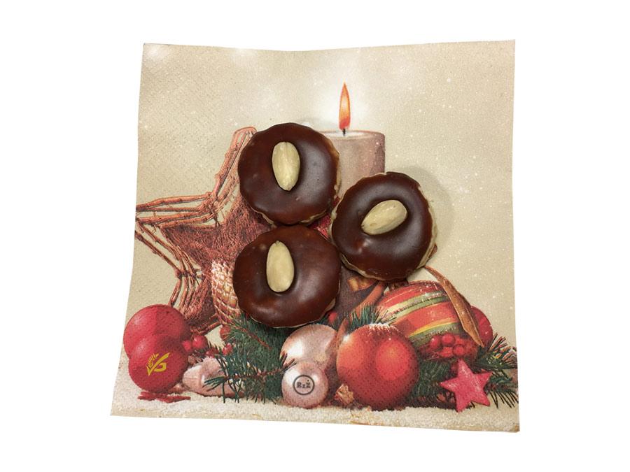 Fotografie bezlepkových medových bochánků na ubrousku s vánoční tématikou | Bezlepkové medové bochánky | Cukroví | Bezlepkové recepty | 37. recept