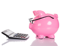 fotografie růžového prasátka s brýlemi nahlížející do kalkulačky symbolizující finance, úspory, investice