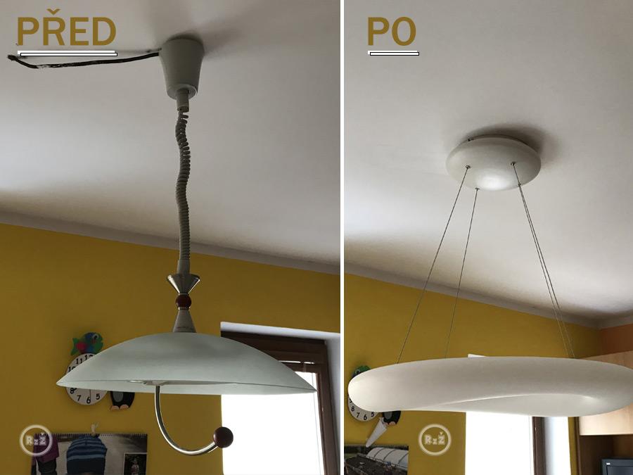 Světlo před a po posunutí kabelu pro světlo v sádrokartonu plus výměna starého světla za nové - to je krása | Rady ze života