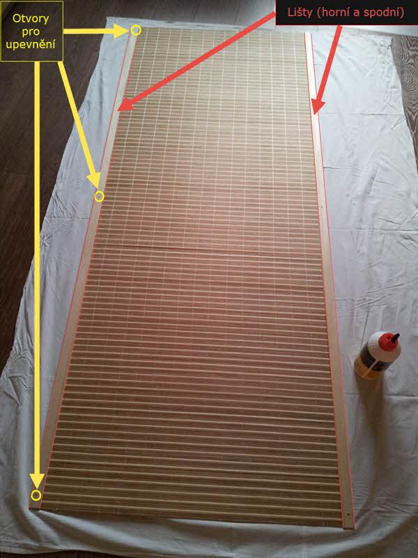 Lepení lišt na rohoži a otvory pro upevnění   Jak přidělat rohož?