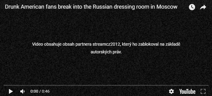 video již není na youtube.com dostupné   stream.cz zablokoval video    Americký hokejový fanoušek močil do bruslí hokejisty ruské sborné