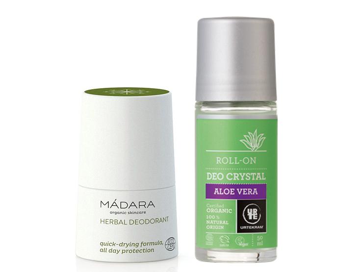 Dva nejlepší přírodní deodoranty (kuličkové) - první po levé straně bílý a druhý zeleno šedý s bílým pozadím