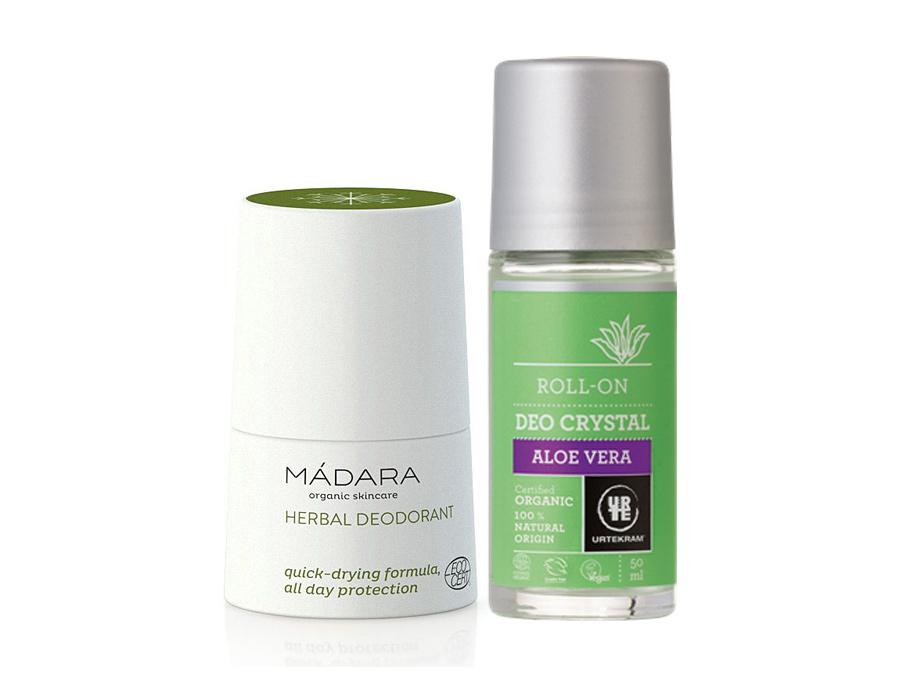 Nejlepší 2 přírodní tekuté deodoranty námi odzkoušené - po levé straně bílo zelený deodorant od značky MÁDARA (bylinný) a po pravé straně zeleno šedý deodorant od značky Urtekram (Aloe Vera)