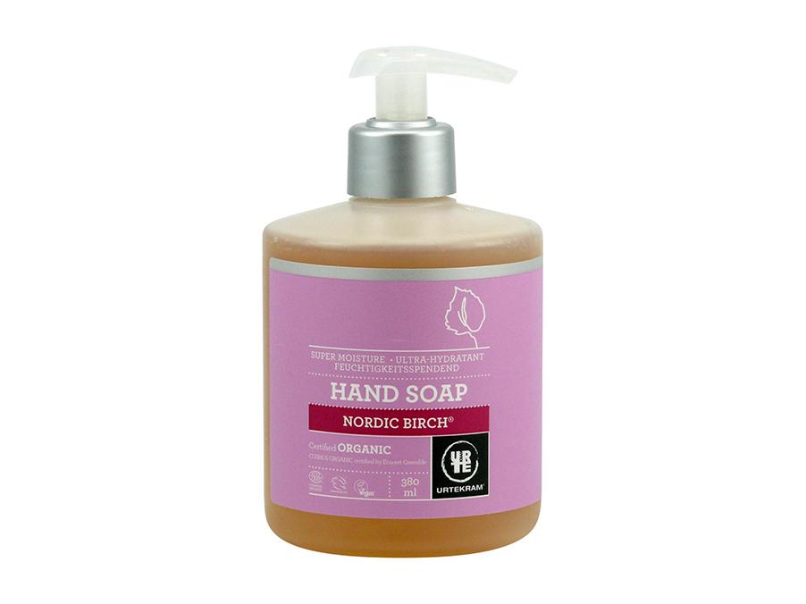 Přírodní tekuté mýdlo s bílým pozadím (růžová etiketa na menší široké nádobě s tekutým mýdlem - možnost pákového dávkování) | 100% přírodní mýdlo | Bez chemie | Zdraví | Rady ze života