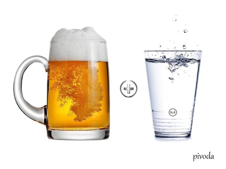 Půllitr s uchem naplněným pivem s vedle stojící sklenicí kohoutkové vody (mezi sklenicemi je symbol plusu)   Kocovina a jak na ni?   Jediný funkční tip   Pivoda a Vínoda   Zdraví