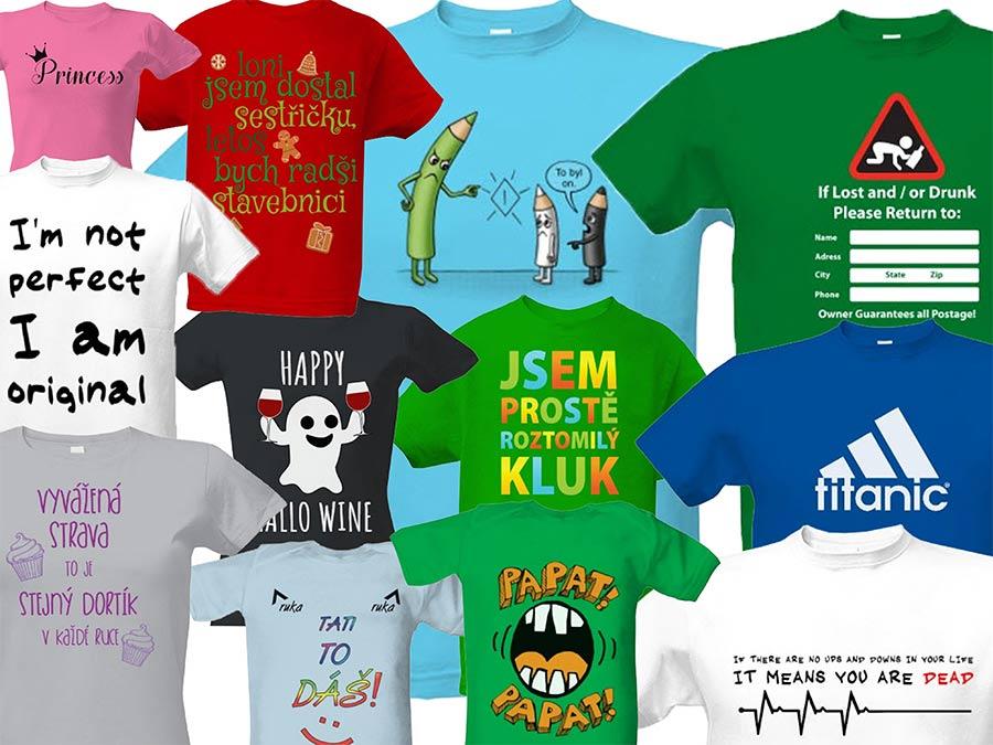 Koláž Triček s potiskem | Tričko s potiskem | Našli jsme kvalitu | Konečně | Tip | Šoptip, Zdroj: t-shock.cz