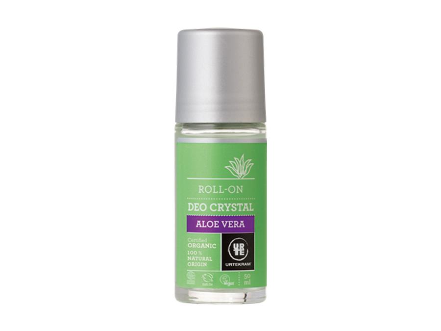 Přírodní tekutý deodorant značky Urtekram Aloe Vera v zeleno šedém obale s bílým pozadím