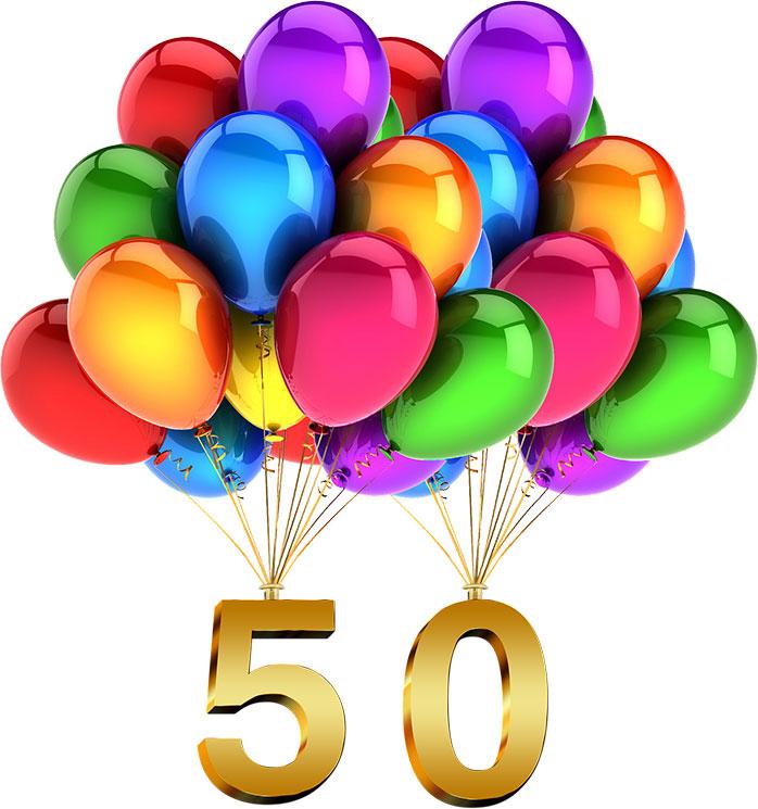 obrázek balónků držící číslo 50 - 50. bezlepkový recept Rady ze života