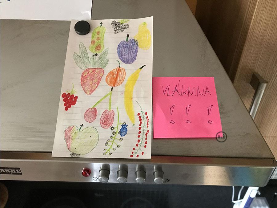 Fotografie naší digestoře s poznámkou - Vláknina s obrázkem ovoce které obsahuje vlákninu | článek o Celiakii (bezlepkové dietě) | radyzezivota.cz