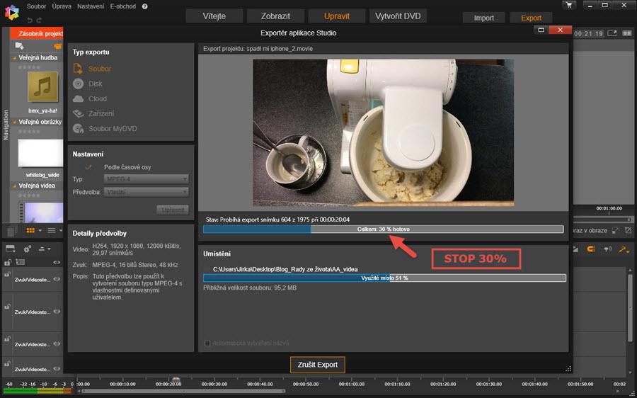 Nejde export   Pinnacle Studio Ultimate 20   Střih videa   Software