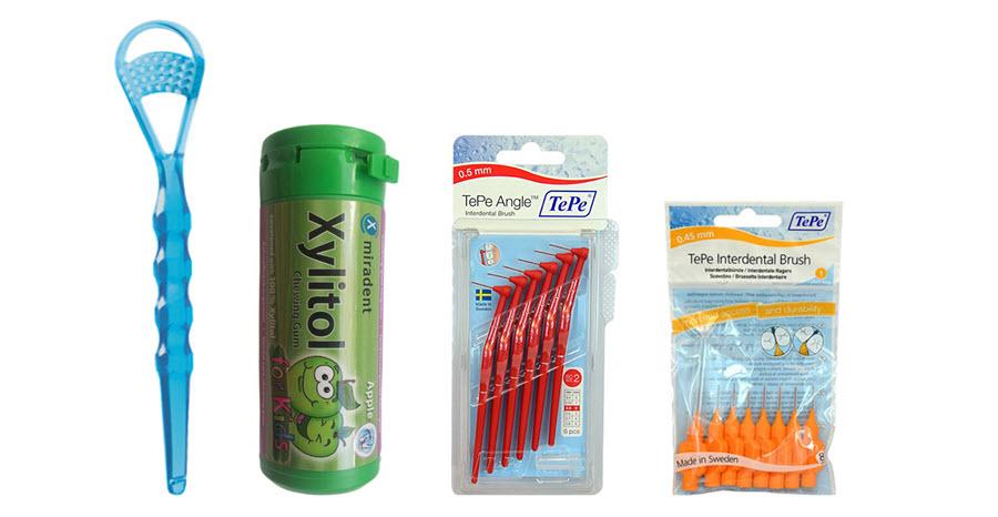 Čistič jazyka (škrabka) | Zdravé žvýkání (žvýkačky s xylitolem | Mezizubní kartáčky ve tvaru L a normal | Ústní hygiena | Zdraví
