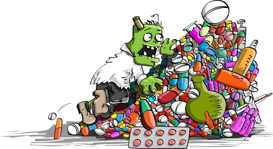 Zelená zombie šplhající na velkou hromadu barevných všemožných prášků dychtivě hledající ten správný, který určitě pomůže (je to z mého pohledu spíše vtip - narážím na hloupost dnešního systému cpát lidem prášky a ničit si zdraví a ničit svůj imunitní systém, my jsme ale pohodlní - chceme raději pilulku) | Hledejte alternativu, co povzbudí Vaši imunitu a nebude ji přímo zabíjet