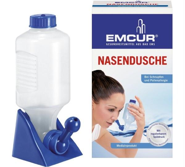 Nosní sprcha od společnosti EMCUR, možné zakoupit v německé drogerii dm,  Zadní rýma a její léčba