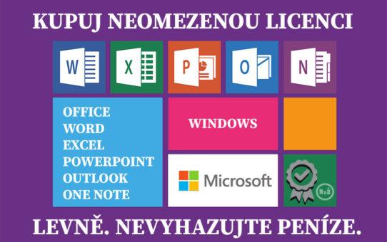 """Ikony Microsoft Office včetně textu """"Kupuj neomezenou licenci""""   Office   Windows   Word   Kupuj jen software za dobrou cenu   Software"""
